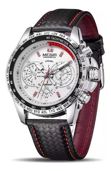 Relógio Masculino Pulseira De Couro Megir 1010 Original
