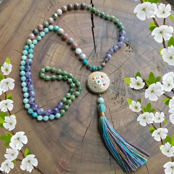 Japamala Tibetano 108 Contas Pedras Naturais Yoga Budismo
