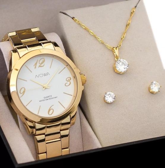 Relógio Feminino Nowa Nw1025k Dourado Original Metal