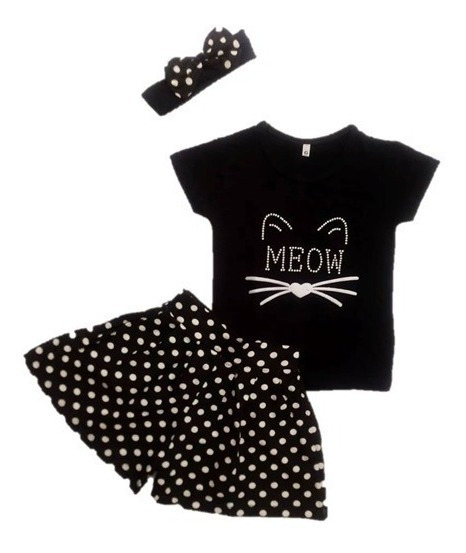 Conjunto Roupa Infantil Menina Gatinha Meow Modinha/minidiva