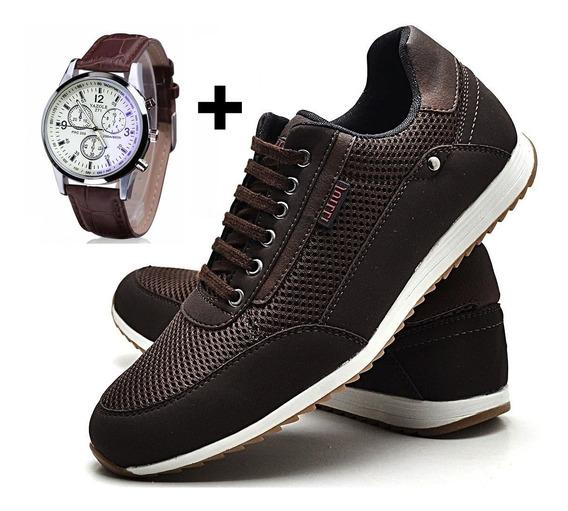 Relógio + Sapatenis Tênis Couro Jogger Masculino 2x1
