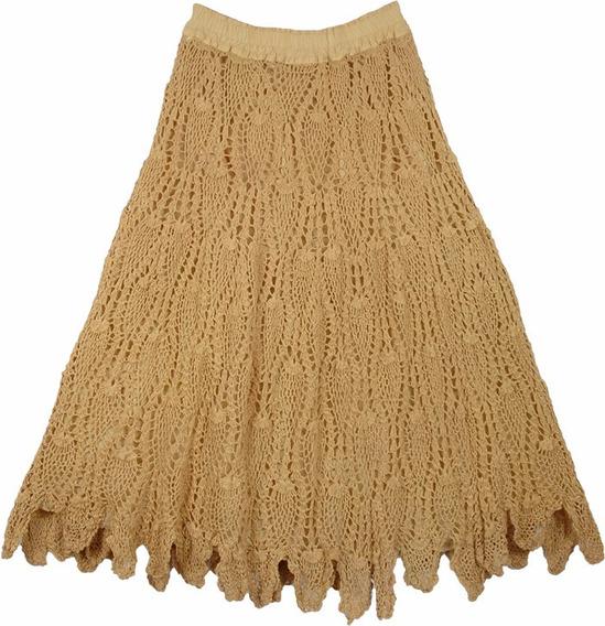 Saia Longa Crochê Renda Mostarda Personalizada 100%artesanal