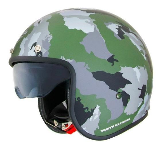 Casco Moto Abierto Militar Camuflado Verde Con Visor X581 Punto Extremo