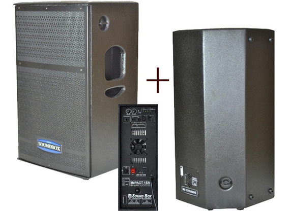 Kit Caixa Ativa Passiva Soundbox Impact15 Biamplificada 700w