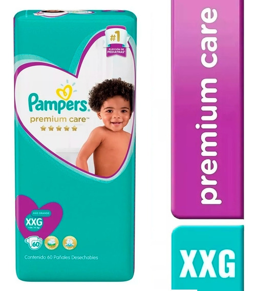 1 Paquete Pañales Pampers Premium Care 60u. Talla Xxg