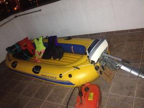 Bote Inflable Con Motor Y Cuatro Chalecos