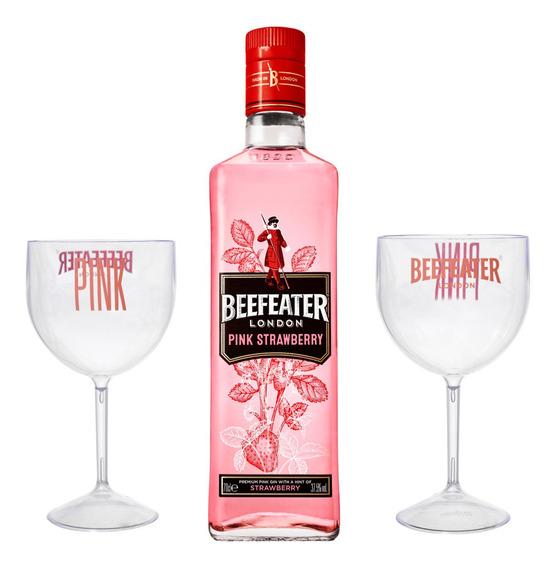 Kit Gin Beefeater Pink 750ml + 2 Taças Acrílicas