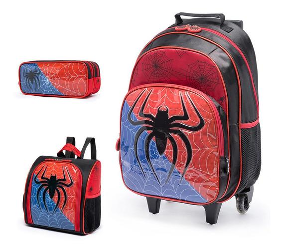 Kit Mochila Infantil De Rodinhas Spider C/ Lancheira Estojo