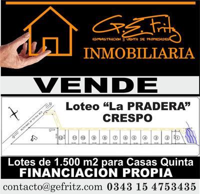 Lotes De 1500 M2 A 5 Del Centro De Crespo E.r.-