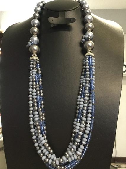 Collar Largo Tiras Cristales Y Perlas Azul Gris (nuevo)