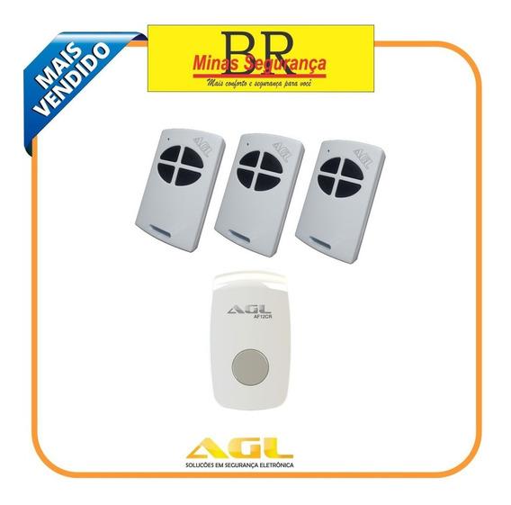 Kit 3 Controle Remoto Agl + Acionador De Fechadura