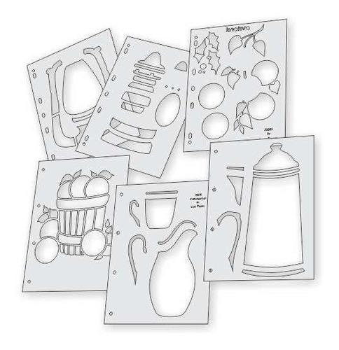 Imagem 1 de 5 de Kit Gabaritos Pintura Com 5 Modelos + 3 Gabaritos De Brinde