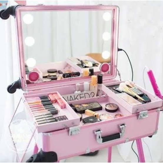 Maleta Maquiagem Camarim Luz Led Espelho Bluetooth Mp3 Rodas