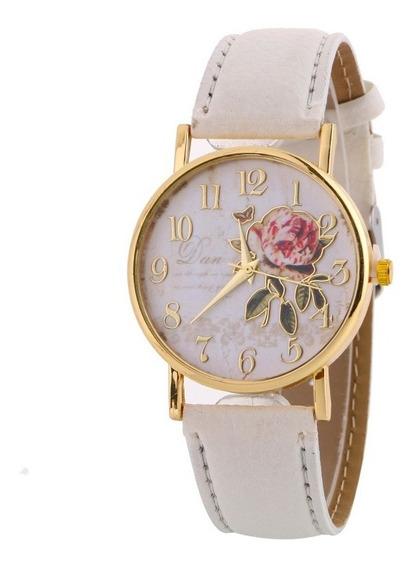 Relógio De Pulso Flores Social De Luxo Feminino