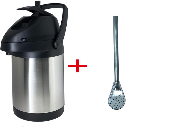 Garrafa Térmica Quente E Frio Aço Inox 2,5lts + Bomba