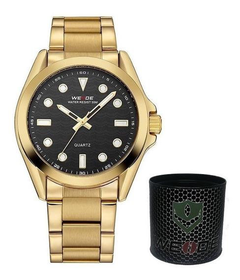 Relógio Masculino Dourado E Preto A Prova De Agua Esporte Weide Analógico Importado A Pronta Entrega1 Ano De Garantia