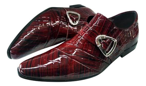 Sapato Masculino Em Couro Vinho Verniz Luxury Ref: 455