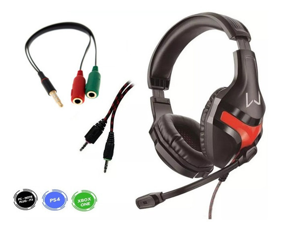 Headset Gamer Fone Microfone P2 / P3 3.5mm Ps4 Xbox One Pc