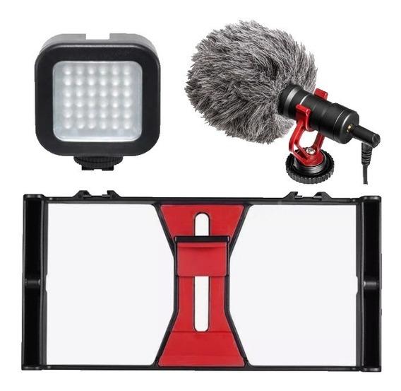 Kit Con Estabilizador Lampara Y Microfono Para Smartphone