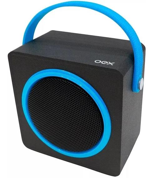 Caixa De Som Bluetooth Usb Fm 10w Music Box Azul Sk404 Oex
