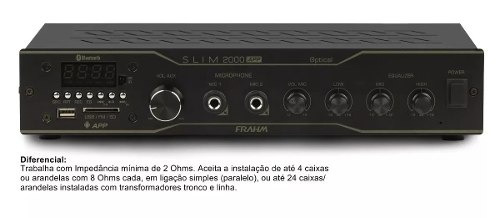 Amplificador Receiver Frahm Slim 2000 App Optical Bt Usb Sd