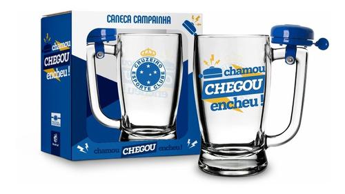 Caneca Chop Cerveja Vidro Futebol Cruzeiro Time Zero C/ Sino