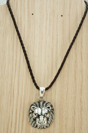 Colar Couro Cabeça Leão Bali Especial (l27,1) Prata 925