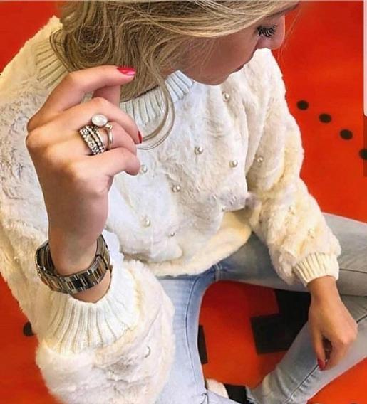 Moletom Feminino Plush Com Perolas Casaco Inverno Lançamento