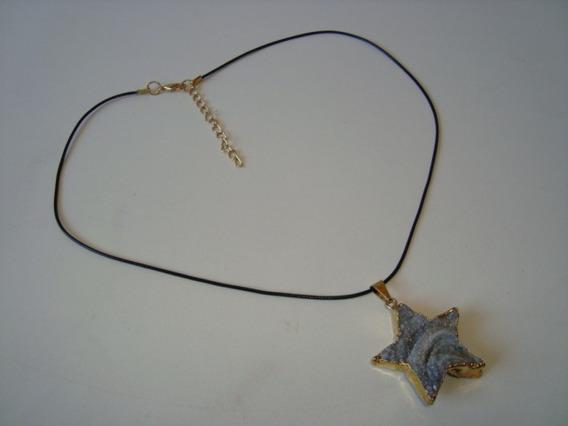 Colar Fio Couro Pingente Geodo Geolita Estrela Dourado 4