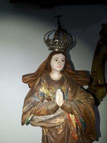 Nossa Senhora Da Conceição Século Xix Madeira 39 Cm