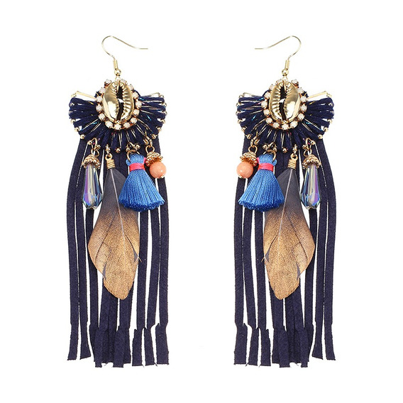 Mulheres Bohemian Brincos Luxo Banhado A Ouro Camurça Borla