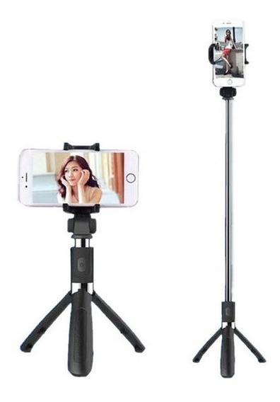 Tripé Controle Bluetooth Sem Fio Pau Selfie iPhone Android