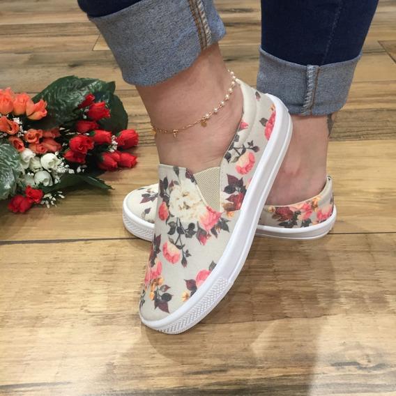 Tênis Feminino Slip Floral Luxo Confort Santa Liz Verão 2020