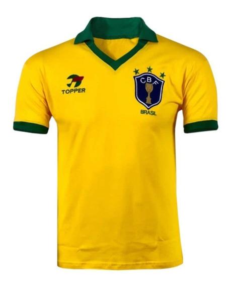 Camisa Retrô Seleção Brasil 1986 - Bordada - 100% Algodão!!!