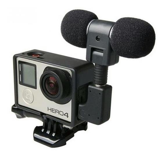 Mini Microfone Estéreo Go Pro 3 +3 4 + Case Aberto Gopro.