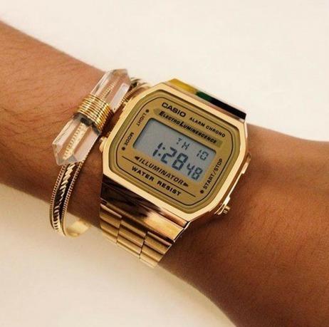 Relógio Casio A168 Dourado Gold Feminino Masculino Aço Novo