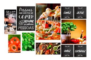 Kit 11 Placas Decorativas Quadros Pizzaria Pizza Comida