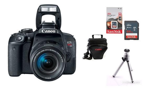 Câmera Canon Rebel T7i C/ 18-55mm Is Stm + 64gb + Bolsa + Tripé