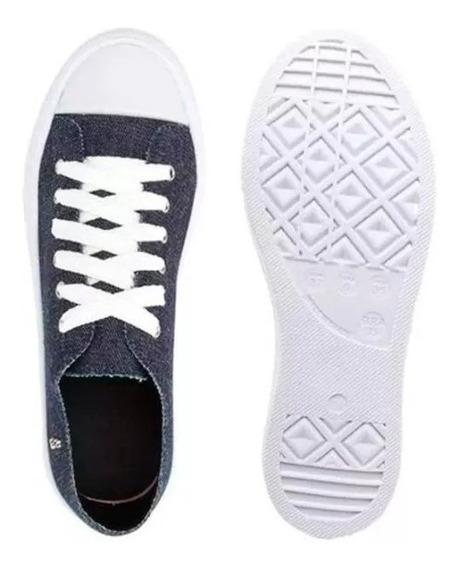Tênis Slip On Santa Lolla Cadarço Jeans Pesponto Azul