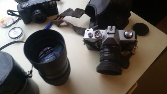 Máquina Fotográfica Praktica Mtl-3 Com Lentes 50 Mm,200 Mm