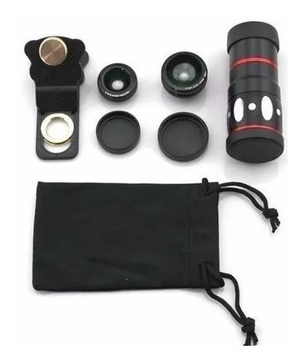Kit Lentes 4 Em 1 Zoom Telescópio Foto Vídeo Olho De Peixe