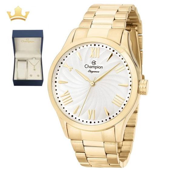 Relógio Champion Feminino Kit Cn27796w Com Nf