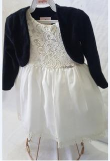 Vestido Infantil De Festa Creme Com Detalhe Em Renda+ Bolero