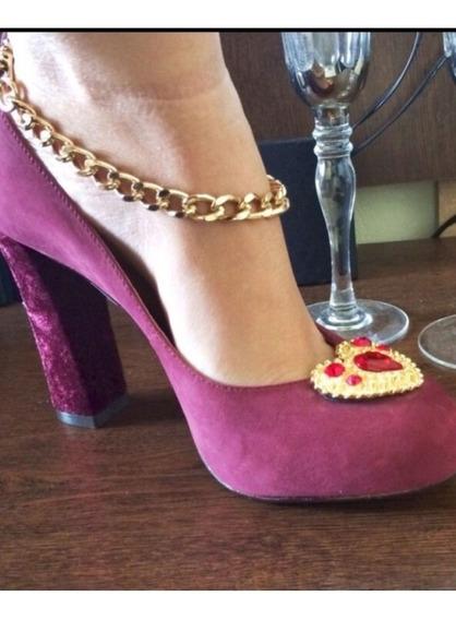 Sapato Lança Perfume, Veludo Com Cabedal Em Pedraria .