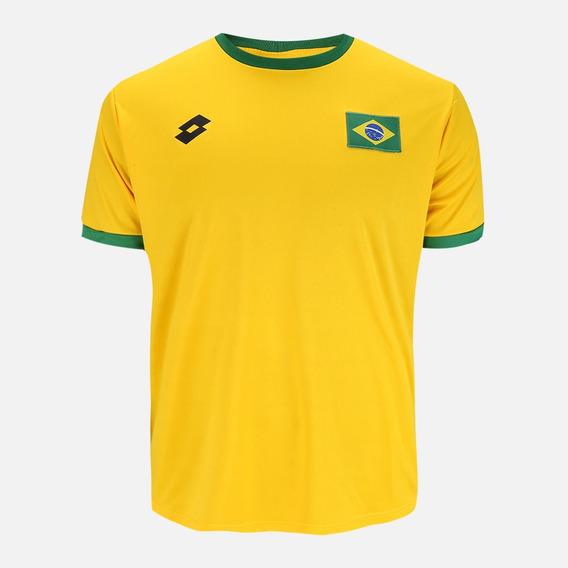 Camisa Brasil Torcedor Masculina Lotto Bordado Seleção
