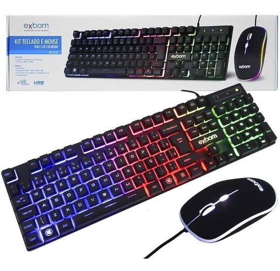 Kit Teclado Mouse Gamer Computador Usb Pc Abnt2 Led Preto
