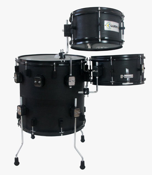 Bateria Pub Luen Compacta Vertical Drum Black 10 12 16 16