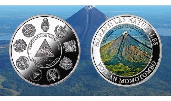 Nicaragua Moneda Plata 10 Cordobas 2017 Ibero Color Volcan