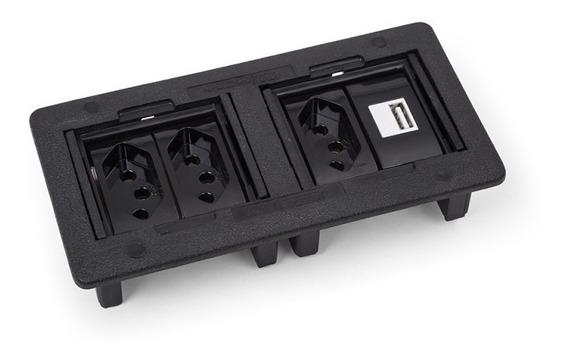 Caixa De Tomada 3 Eletrica + Usb Charger Mesa Embutir Qtmov
