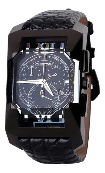 Relógio De Pulso Chronotech Diagonal - Aço Preto/couro Preto